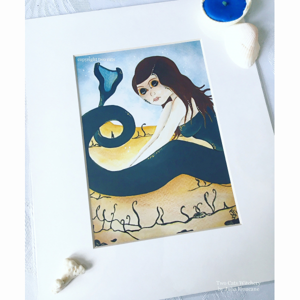 Fine art print of a mermaid in sand