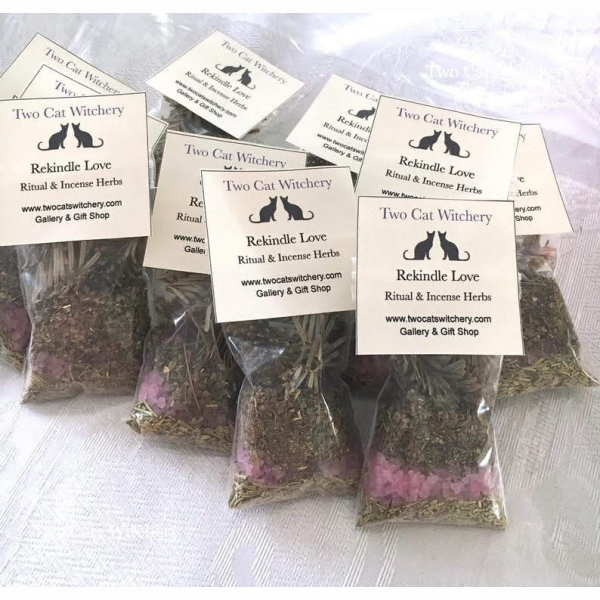 back of rekindle love spell herbs for magick
