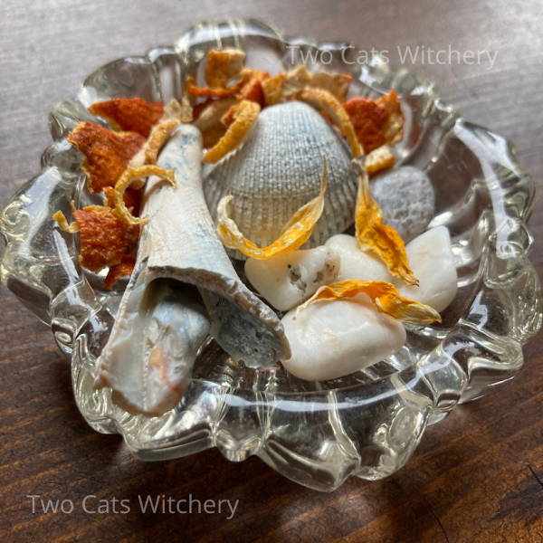 sea shells and crystals in a glass bowl