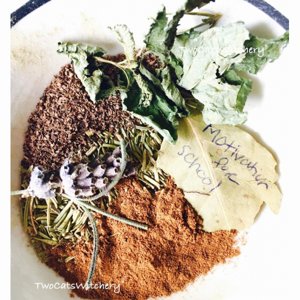 Motivation Spell Herbs in a bowl