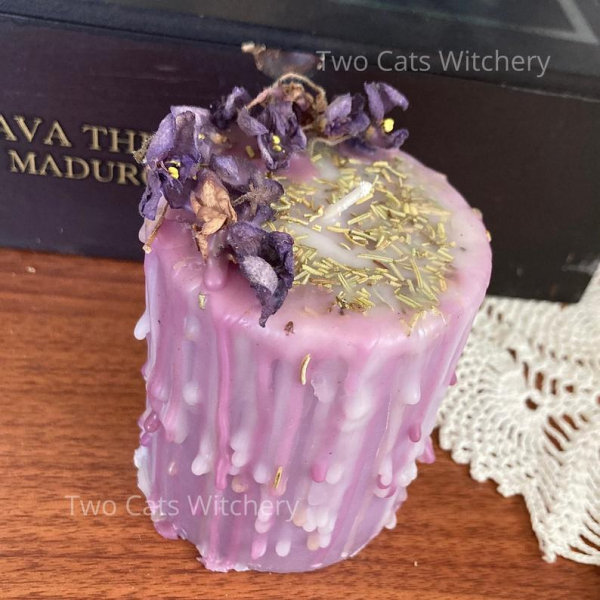 Purple Pillar Candle with Violets