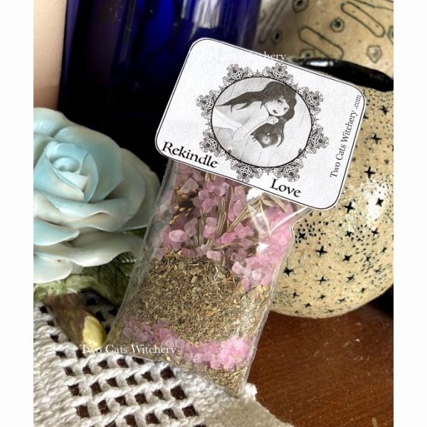 bag of rekindle love spell herbs for magick