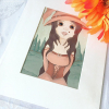Fantasy original painting of a forest witch with big eyes