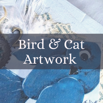 Whimsical Bird and Cat Art Gallery