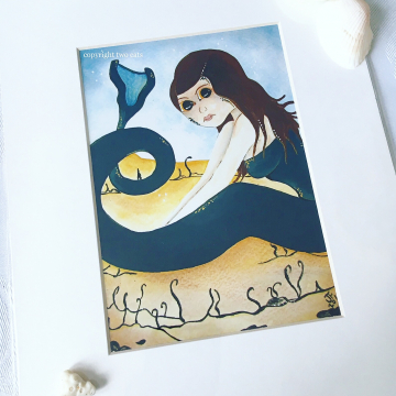 Blue Mermaid Fantasy Art Print / 8x10 inch Matted Beach Artwork by Julia Finucane