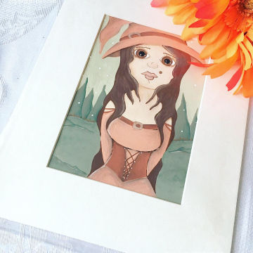 Witch Original Painting with Big Eyes and Orange Witches Hat / Matted Painted with Acrylic Paint by Julia Finucane
