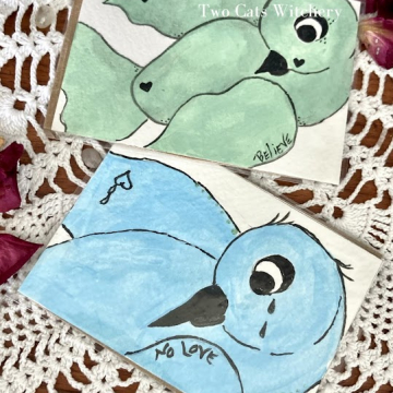 Original Bird Paintings of a Bluebird and Green Bird, Lowbrow Whimsical Home Decor, ACEO 2.5 x 3.5 inches