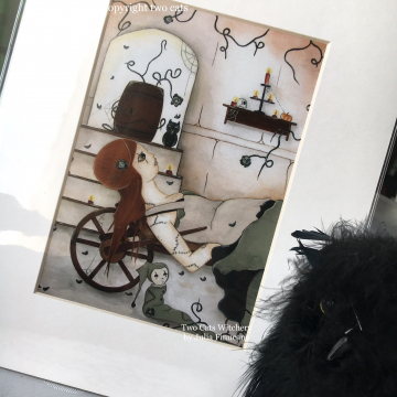 Halloween Fantasy Art Print featuring a Rag Doll with Black Owl and Pumpkin / Matted Wall Artwork by Julia Finucane