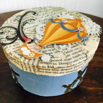 Steampunk Art | Jewelry Box | Hand Painted | Hot Air Ballon | Handmade OOAK Trinket Boxes | Decoupaged Newsprint