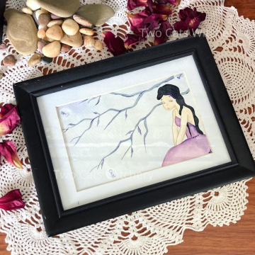 Whimsical Original Painting with Skeleton Keys on Tree Branches, Lowbrow Pop Surrealism Artwork, Acrylic Paint and Framed
