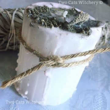 Sage Energy Cleansing Pillar Candle / Handcrafted for Positivity
