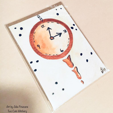 Clock Art ACEO, Whimsical Steampunk, Clock Hands, Original Art Trading Card, Fantasy Lowbrow Artwork, OOAK, Mini Acrylic Painting, Orange